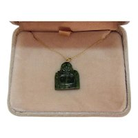 Vintage Imperial Jade 14K Gold Hand Carved Chinese Sitting Buddha Pendant Necklace Original Box FREE SHIPPING