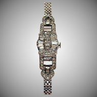 Spectacular Signed Delbana Vintage 17 Jewels Swiss Womans Rhinestone Wrist Watch Bracelet