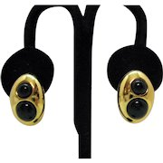 Beautiful Vintage Signed Monet Golden Black Beaded Pierced Earrings