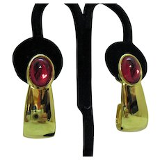 Stunning Signed Napier Vintage Gripoix Red Glass Pierced Earrings