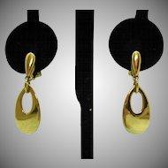 Vintage Signed Napier Pierced Lever Clutch Dangle Golden Earrings