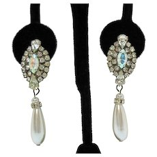 Vintage Rhinestone Faux Pearl Drop Pierced Earrings