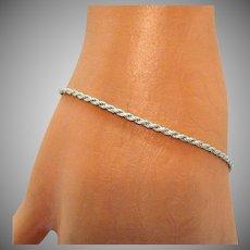 Vintage Italy Sterling Silver Sparkling Rope Bracelet