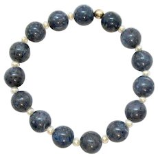 Beautiful Vintage Lapis Cultured Pearl Stretch Bracelet