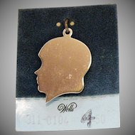 Vintage Sterling Silver Signet Silhouette of a Boy Charm Signed Wells