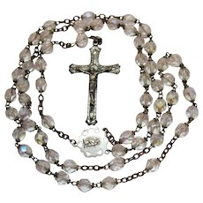 50% Off Signed Chapel Sterling Silver 925 Vintage Crystal Faceted Glass Beaded Religious Rosary