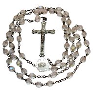 Signed Chapel Sterling Silver Vintage Crystal Faceted Glass Beaded Religious Rosary