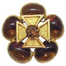 Signed Benedikt Vintage Mogul Gripoix Glass Maltese Cross Brooch FREE SHIPPING