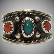 Sterling Silver Native American Indian Vintage Turquoise Coral Hand Crafted Ring