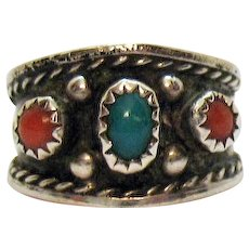50% Off Sterling Silver 925 Native American Indian Vintage Turquoise Coral Hand Crafted Ring