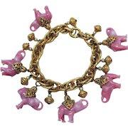 Rare Signed Napier Pink Glass Elephant Vintage Charm Bracelet