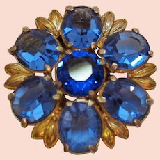 50% Off Beautiful Vintage Cornflower Blue Sapphire Oval Glass Stone Fur Clip FREE SHIPPING