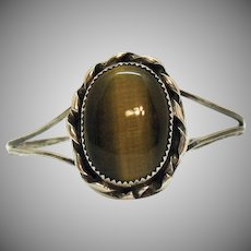 Large Tigers Eye Sterling Silver Vintage Cuff Bracelet