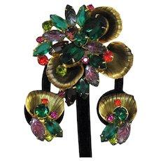 Spectacular Juliana D&E DeLizza & Elster Vintage Brooch Clip Earrings Set