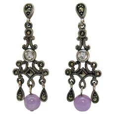 Stunning Vintage Pierced Earrings Sterling Silver Marcasite Lavender Jade Bead CZ