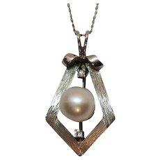 50% Off Stunning 14K White Gold Pearl Diamond Pendant Necklace Designer Signed Costa