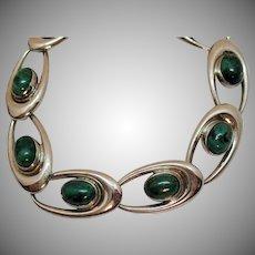 50% Off Signed WRE Richards Company Vintage Sterling Silver Malachite Mid Century Moderne Bracelet