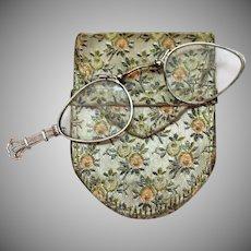 Art Deco Signed Frank Krementz Vintage Lorgnette Opera Magnify Glass in Sterling Silver French Silk Holder