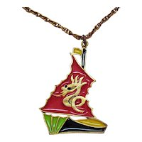 Unique Vintage Enameled Pirate Ship Dragon Mast Costume Jewelry Pendant Necklace FREE SHIPPING
