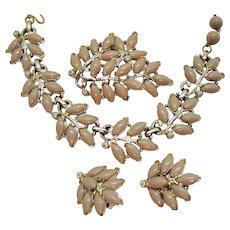 Signed Kramer Vintage Parure Champagne Lucite Necklace Brooch Earrings Set