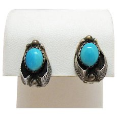 50% OFF Signed Tom Morgan Navajo Native American Indian Vintage Sterling Silver Turquoise Clip Earrings