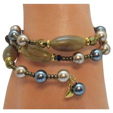 50% OFF Signed Liz Clayborne LCI Vintage Gemstone Pearl Hematite Wire Wrap Bracelet