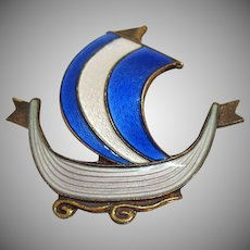 50% OFF Signed Aksel Holmsen Norwegian Artist Vintage Guilloche Enameled Sailing Ship Brooch