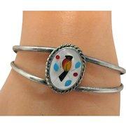 Vintage Native American Indian Sterling Silver Cardinal Bird Inlay Cuff Bracelet