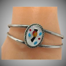 Vintage Native American Indian Sterling Silver Cardinal Bird Inlay Cuff Bracelet