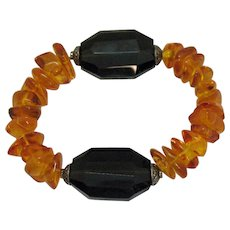 50% OFF Fabulous Vintage Baltic Amber Black Onyx Stretch Bracelet