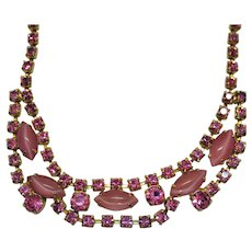 50% Off Gorgeous Vintage Pink Rhinestone Givre Glass Marquise Stones Necklace