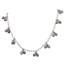 Signed Napier Vintage Double Nubby Beaded Ball Chain Silver Necklace