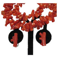 50% Off Stunning Vintage 1930s Branch Coral Necklace Earrings Set