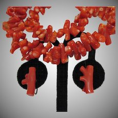 Stunning Vintage 1930s Branch Coral Necklace Earrings Set