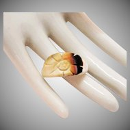 Unique Vintage Hand Carved Coral Floral Designed Ring Size 7