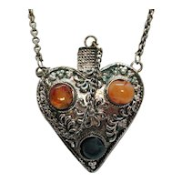 50% Off Unusual Vintage Repousse Silver Heart Perfume Atomizer Pendant Necklace Baltic Amber Jade Stones FREE SHIPPING