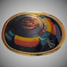 Vintage ELO Electric Light Orchestra English Rock Band 1977 Enameled Belt Buckle Unisex