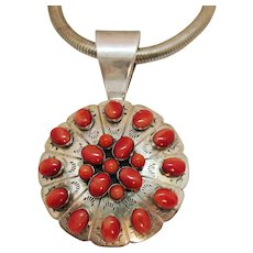 Bold Vintage Signed DTR Sterling Desert Rose Trading Company Red Coral Pendant Necklace