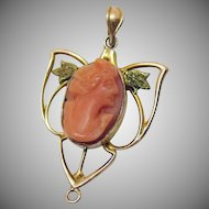 Victorian 10K Signed JJS Antique Coral Cameo Pendant