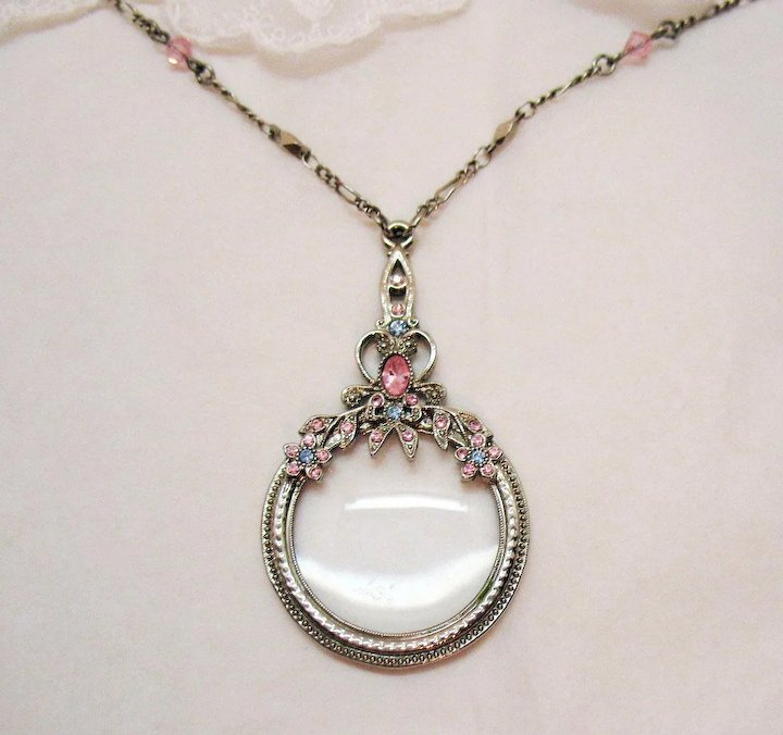 Well-liked Vintage Rhinestone Magnifying Glass Pendant Necklace Steel Cut  EV71