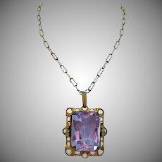 Amazing Lavender Glass Art Deco Czechoslovakia Vintage Brass Necklace