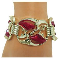 Bold Vintage Red Thermoset Gold Plate Link Bracelet