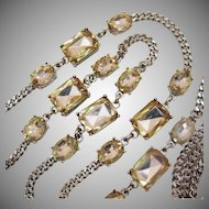 Gorgeous Signed Talbots Massive Champagne Rhinestone 46 Inches Long Necklace
