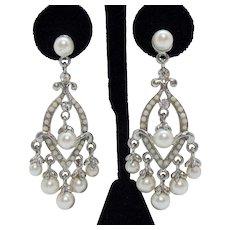 Vintage Milk Glass Beaded Faux White Pearl Rhinestone Chandler Pierced Earrings