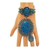 50% Off Rare Signed JJ Vintage 1970s Southwestern Santa Fe Line Faux Glass Turquoise Parure Necklace Clamper Bracelet Ring FREE SHIPPING
