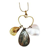 Unusual Signed Napier Vintage MOP Heart Shell Abalone Charm Holder Pendant Necklace FREE SHIPPING