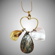 Unusual Signed Napier Vintage MOP Heart Shell Abalone Charm Holder Pendant Necklace