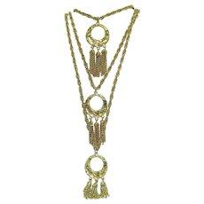 Amazing Three Tier Chain Vintage Heavy Tassel Necklace