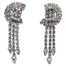 Vintage Super Sparkling Special Occasion Waterfall Rhodium Rhinestone Clip Earrings