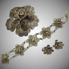 Vintage 1934 Signed Sterling Silver Mexican Cannetille Rose Parure Bracelet Brooch Earrings Set